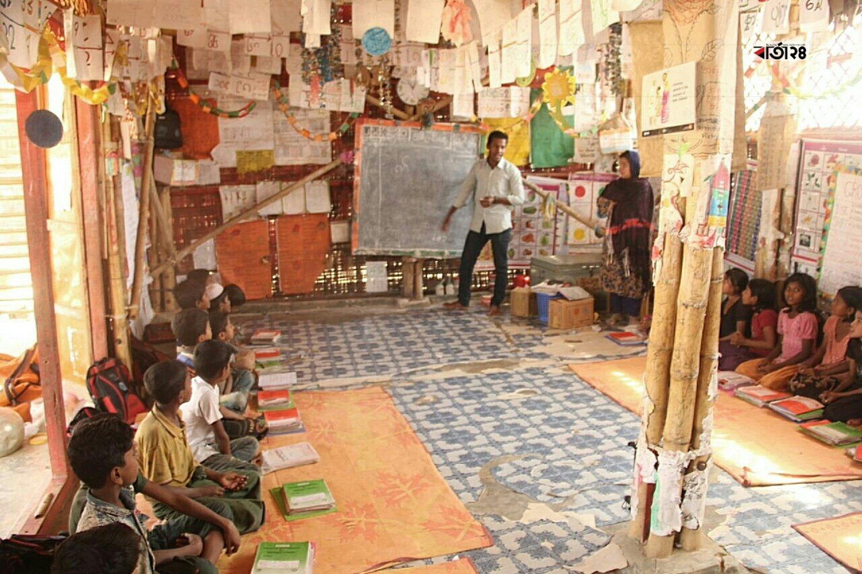 বিভিন্ন এনজিওর মাধ্যমে রোহিঙ্গা শিশুরা পাচ্ছে শিক্ষা দানের ব্যবস্থা। ছবিটি কক্সবাজার কুতুপালং রোহিঙ্গা ক্যাম্প থেকে তোলা।